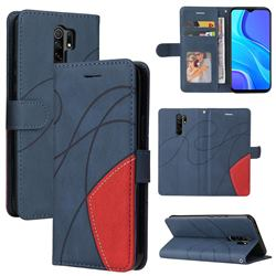 Luxury Two-color Stitching Leather Wallet Case Cover for Xiaomi Redmi 9 - Blue