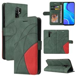 Luxury Two-color Stitching Leather Wallet Case Cover for Xiaomi Redmi 9 - Green