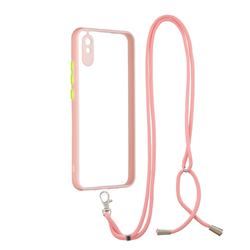 Necklace Cross-body Lanyard Strap Cord Phone Case Cover for Xiaomi Redmi 9A - Pink
