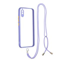 Necklace Cross-body Lanyard Strap Cord Phone Case Cover for Xiaomi Redmi 9A - Purple