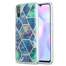 Blue Green Marble Pattern Galvanized Electroplating Protective Case Cover for Xiaomi Redmi 9A