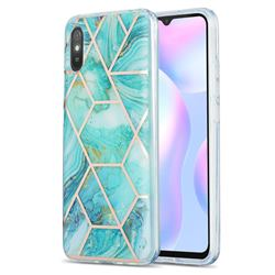 Blue Sea Marble Pattern Galvanized Electroplating Protective Case Cover for Xiaomi Redmi 9A