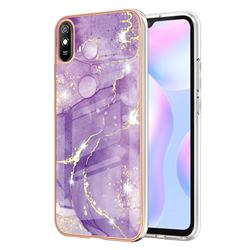 Fashion Purple Electroplated Gold Frame 2.0 Thickness Plating Marble IMD Soft Back Cover for Xiaomi Redmi 9A