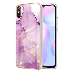 Dream Violet Electroplated Gold Frame 2.0 Thickness Plating Marble IMD Soft Back Cover for Xiaomi Redmi 9A