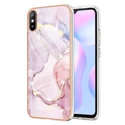 Rose Gold Dancing Electroplated Gold Frame 2.0 Thickness Plating Marble IMD Soft Back Cover for Xiaomi Redmi 9A