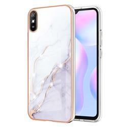 White Dreaming Electroplated Gold Frame 2.0 Thickness Plating Marble IMD Soft Back Cover for Xiaomi Redmi 9A