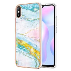 Green Golden Electroplated Gold Frame 2.0 Thickness Plating Marble IMD Soft Back Cover for Xiaomi Redmi 9A
