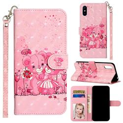 Pink Bear 3D Leather Phone Holster Wallet Case for Xiaomi Redmi 9A