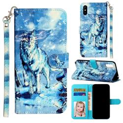 Snow Wolf 3D Leather Phone Holster Wallet Case for Xiaomi Redmi 9A