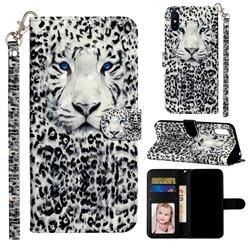 White Leopard 3D Leather Phone Holster Wallet Case for Xiaomi Redmi 9A