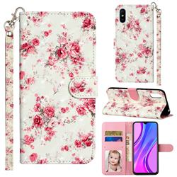 Rambler Rose Flower 3D Leather Phone Holster Wallet Case for Xiaomi Redmi 9A