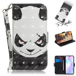 Angry Bear 3D Painted Leather Wallet Phone Case for Xiaomi Redmi 9A