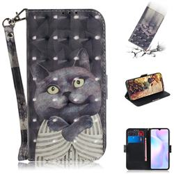 Cat Embrace 3D Painted Leather Wallet Phone Case for Xiaomi Redmi 9A