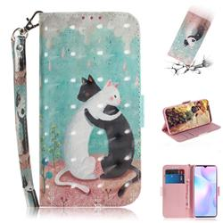 Black and White Cat 3D Painted Leather Wallet Phone Case for Xiaomi Redmi 9A