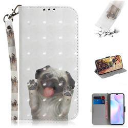 Pug Dog 3D Painted Leather Wallet Phone Case for Xiaomi Redmi 9A
