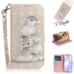 Three Squirrels 3D Painted Leather Wallet Phone Case for Xiaomi Redmi 9A