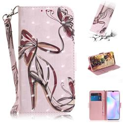 Butterfly High Heels 3D Painted Leather Wallet Phone Case for Xiaomi Redmi 9A