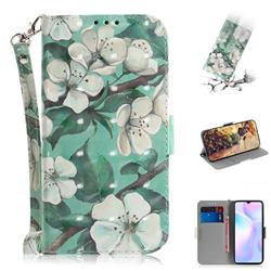 Watercolor Flower 3D Painted Leather Wallet Phone Case for Xiaomi Redmi 9A