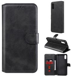 Retro Calf Matte Leather Wallet Phone Case for Xiaomi Redmi 9A - Black