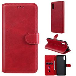 Retro Calf Matte Leather Wallet Phone Case for Xiaomi Redmi 9A - Red