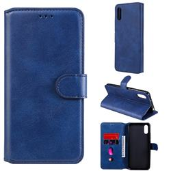 Retro Calf Matte Leather Wallet Phone Case for Xiaomi Redmi 9A - Blue
