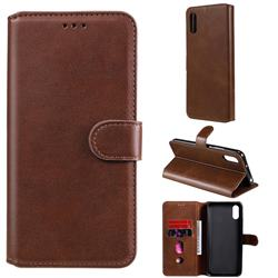 Retro Calf Matte Leather Wallet Phone Case for Xiaomi Redmi 9A - Brown