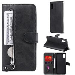 Retro Luxury Zipper Leather Phone Wallet Case for Xiaomi Redmi 9A - Black