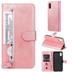 Retro Luxury Zipper Leather Phone Wallet Case for Xiaomi Redmi 9A - Pink