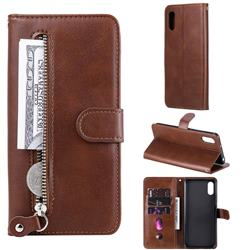 Retro Luxury Zipper Leather Phone Wallet Case for Xiaomi Redmi 9A - Brown