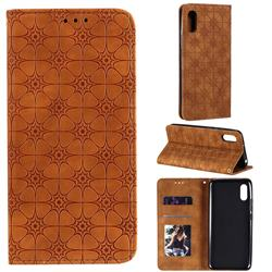 Intricate Embossing Four Leaf Clover Leather Wallet Case for Xiaomi Redmi 9A - Yellowish Brown