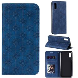 Intricate Embossing Four Leaf Clover Leather Wallet Case for Xiaomi Redmi 9A - Dark Blue
