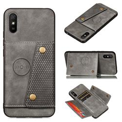 Retro Multifunction Card Slots Stand Leather Coated Phone Back Cover for Xiaomi Redmi 9A - Gray