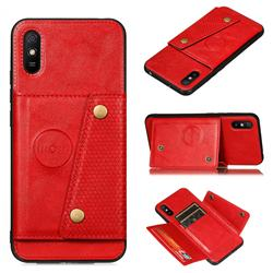 Retro Multifunction Card Slots Stand Leather Coated Phone Back Cover for Xiaomi Redmi 9A - Red