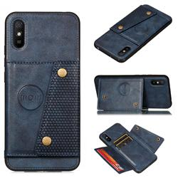 Retro Multifunction Card Slots Stand Leather Coated Phone Back Cover for Xiaomi Redmi 9A - Blue