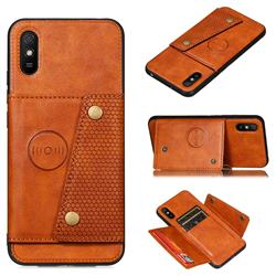 Retro Multifunction Card Slots Stand Leather Coated Phone Back Cover for Xiaomi Redmi 9A - Brown