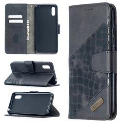 BinfenColor BF04 Color Block Stitching Crocodile Leather Case Cover for Xiaomi Redmi 9A - Black