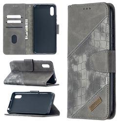 BinfenColor BF04 Color Block Stitching Crocodile Leather Case Cover for Xiaomi Redmi 9A - Gray