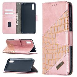 BinfenColor BF04 Color Block Stitching Crocodile Leather Case Cover for Xiaomi Redmi 9A - Rose Gold