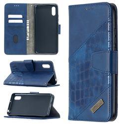 BinfenColor BF04 Color Block Stitching Crocodile Leather Case Cover for Xiaomi Redmi 9A - Blue