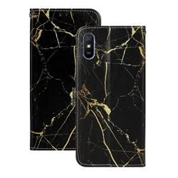 Black Gold Marble PU Leather Wallet Case for Xiaomi Redmi 9A