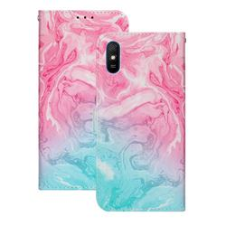 Pink Green Marble PU Leather Wallet Case for Xiaomi Redmi 9A
