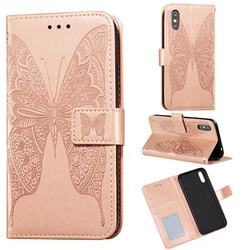 Intricate Embossing Vivid Butterfly Leather Wallet Case for Xiaomi Redmi 9A - Rose Gold