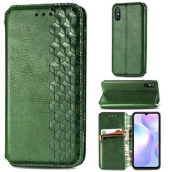 Ultra Slim Fashion Business Card Magnetic Automatic Suction Leather Flip Cover for Xiaomi Redmi 9A - Green