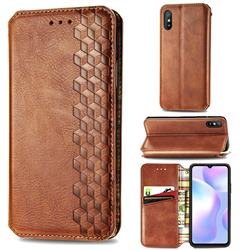 Ultra Slim Fashion Business Card Magnetic Automatic Suction Leather Flip Cover for Xiaomi Redmi 9A - Brown