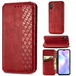 Ultra Slim Fashion Business Card Magnetic Automatic Suction Leather Flip Cover for Xiaomi Redmi 9A - Red