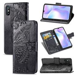 Embossing Mandala Flower Butterfly Leather Wallet Case for Xiaomi Redmi 9A - Black