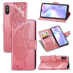 Embossing Mandala Flower Butterfly Leather Wallet Case for Xiaomi Redmi 9A - Pink