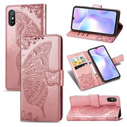 Embossing Mandala Flower Butterfly Leather Wallet Case for Xiaomi Redmi 9A - Rose Gold