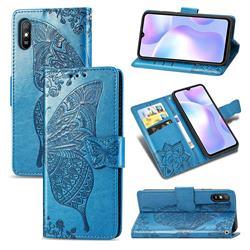 Embossing Mandala Flower Butterfly Leather Wallet Case for Xiaomi Redmi 9A - Blue