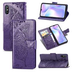 Embossing Mandala Flower Butterfly Leather Wallet Case for Xiaomi Redmi 9A - Dark Purple
